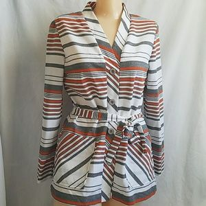 Vintage Striped Cardigan Sweater Tie Waist S M